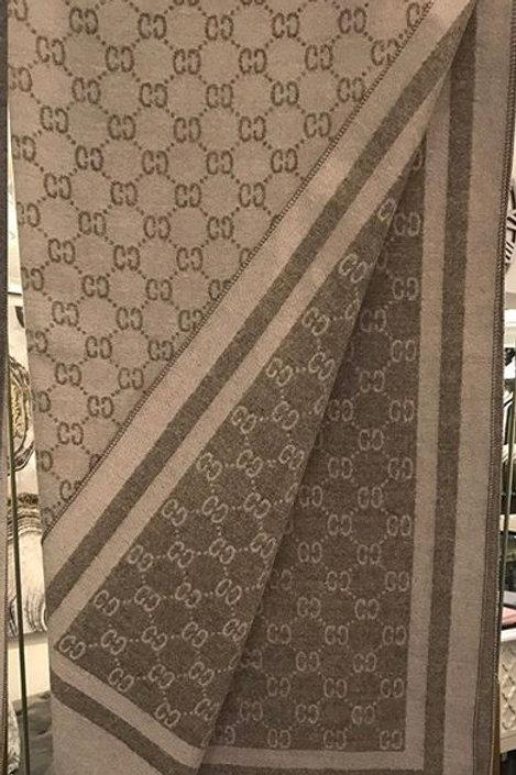 Reversible Grey Cashmere Designer Inspired Scarf