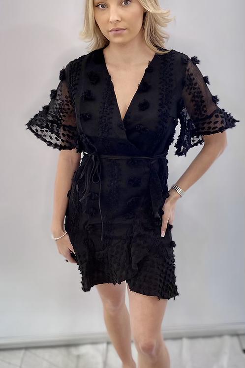 Black Designer Inspired Wrap Dress