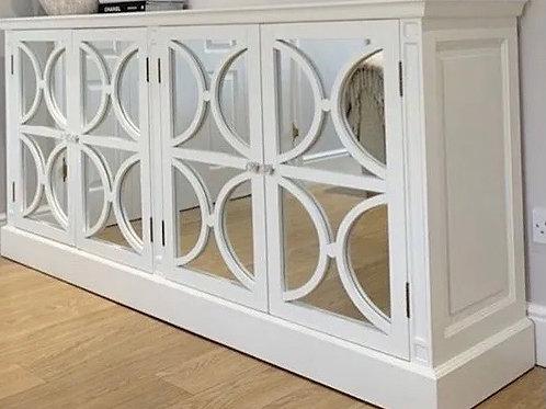 White 4 Door Circles mirrored sideboard