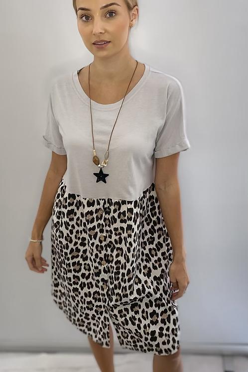 Animal Print Button T Shirt Dress