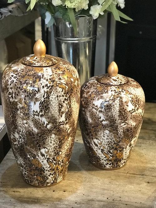 Large lidded Leopard Print Jar