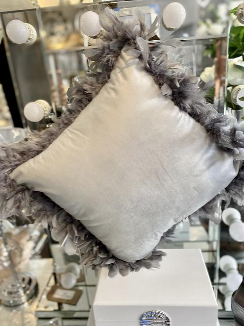 Grey Velvet Cushion with Feather Trim - 45 cm