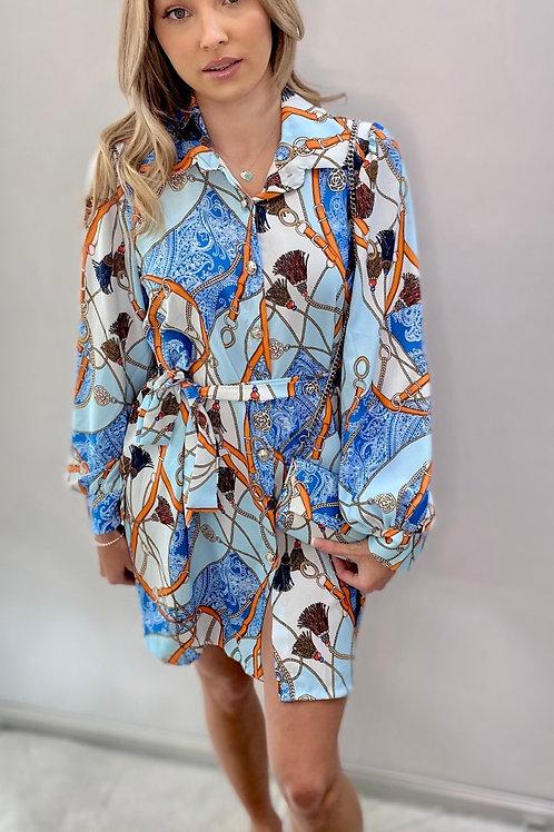 Chain print Shirt Dress with matching bag