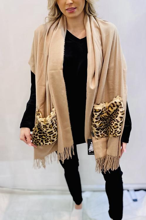 Gorgeous Beige animal print scarf / shawl