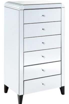 6 Drawer Mirrored Tallboy with Detailed curved cornering