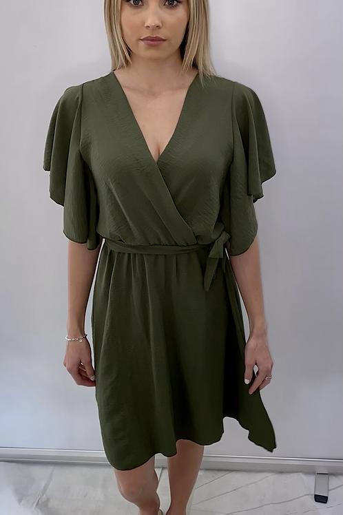 Khaki Wrap Over Style Dress Midi
