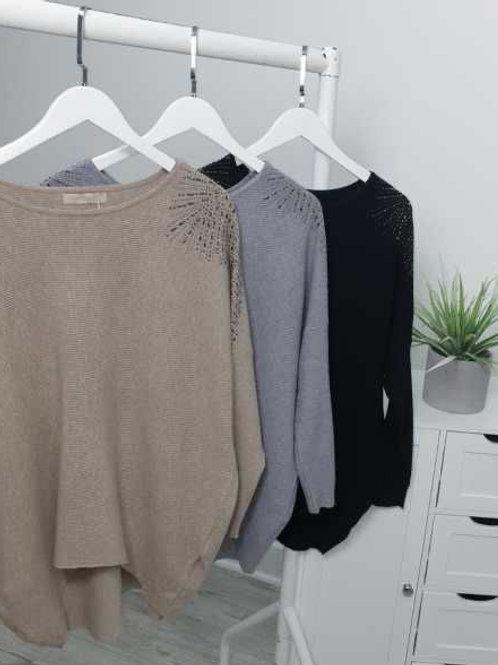 Soft Knit Jumper with Bling Detail on Shoulder 3 Colours