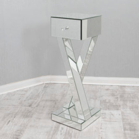 Mirrored Criss Cross Lamp / Side Table