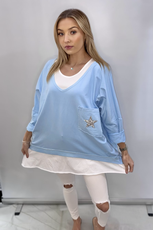 Oversize double layer star sparkle pocket top