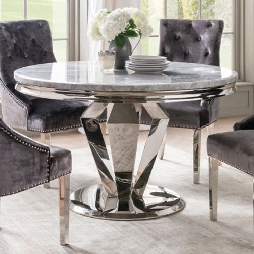 Arturo Marble Round Dining Table - Grey 1300