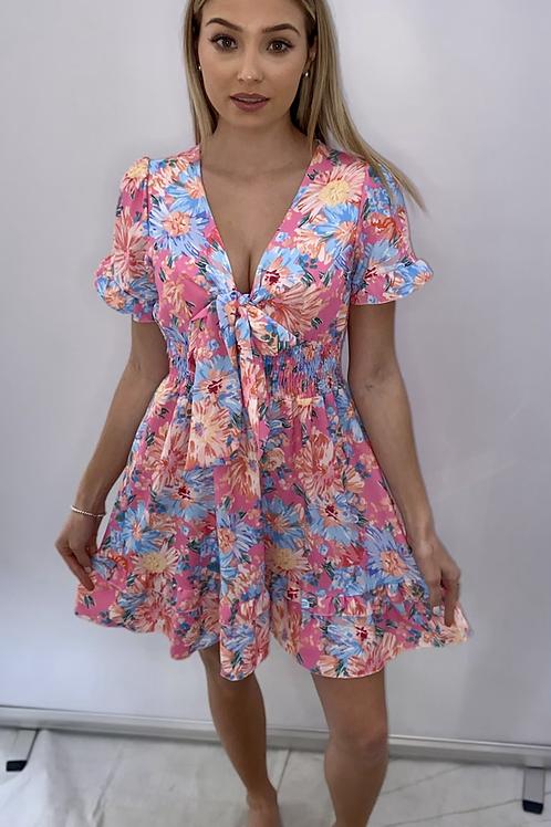 Reversible Tie Summer Dress Blue