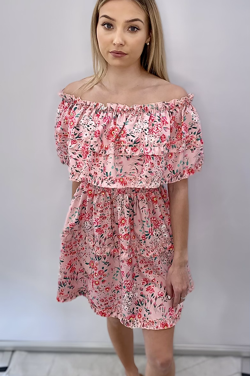 Pink Off the Shoulder Ruffle Dress