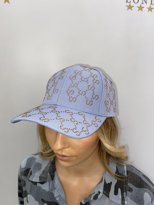 Bling Base Ball Caps - Blue and Beige