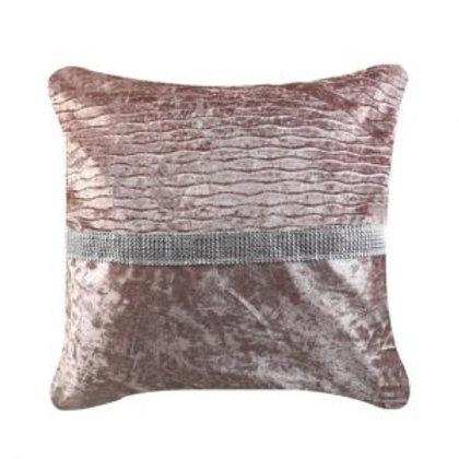 Crushed velvet Blush Pink With Centre Diamante Stripe Cushion