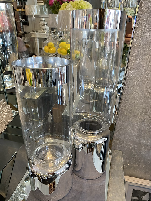 Clear & Silver Glass Vase - 2 Sizes