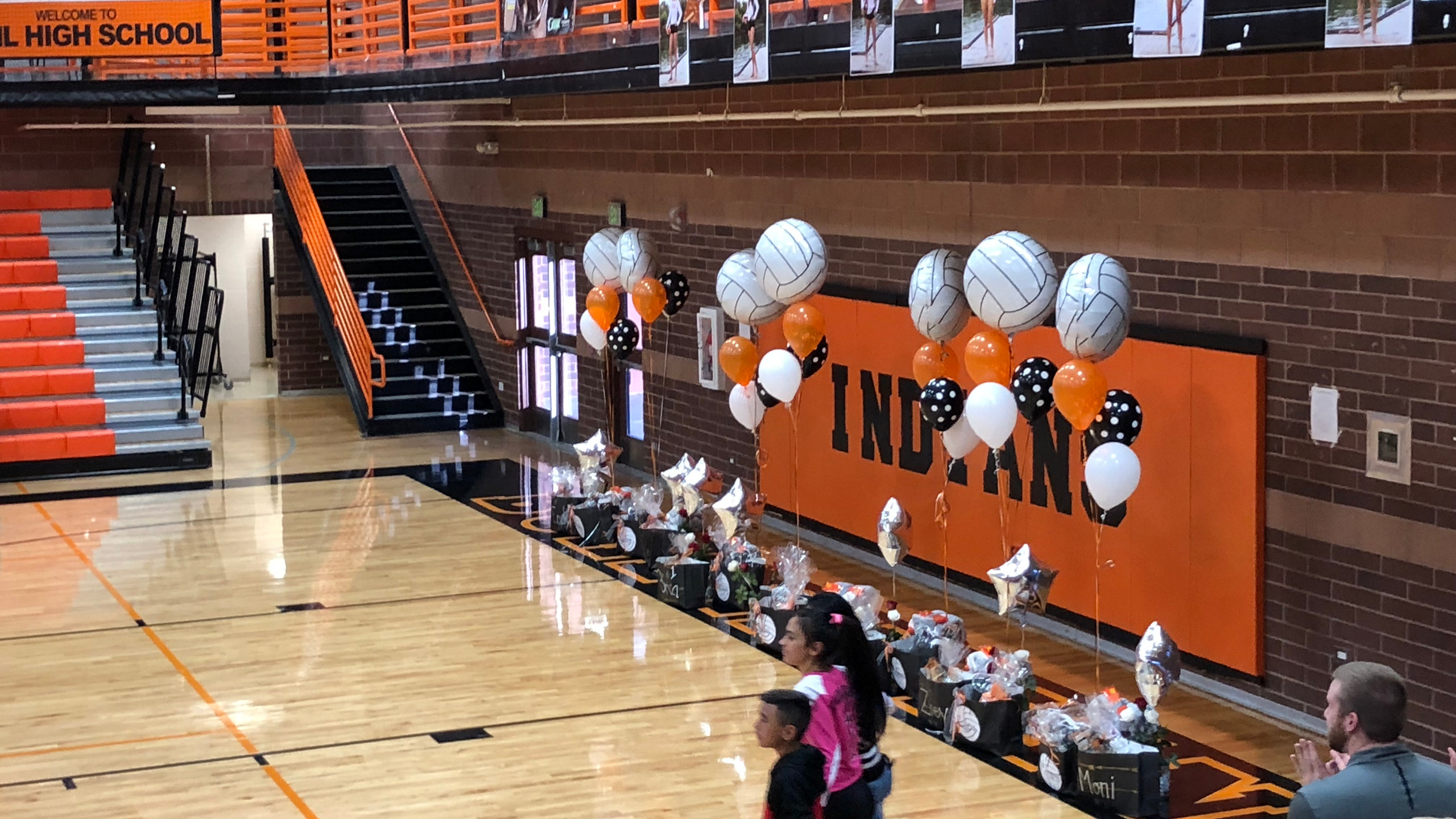 The gym was decorated for the 9 senior girls who will be saying goodbye to their BHS Volleyball Career.