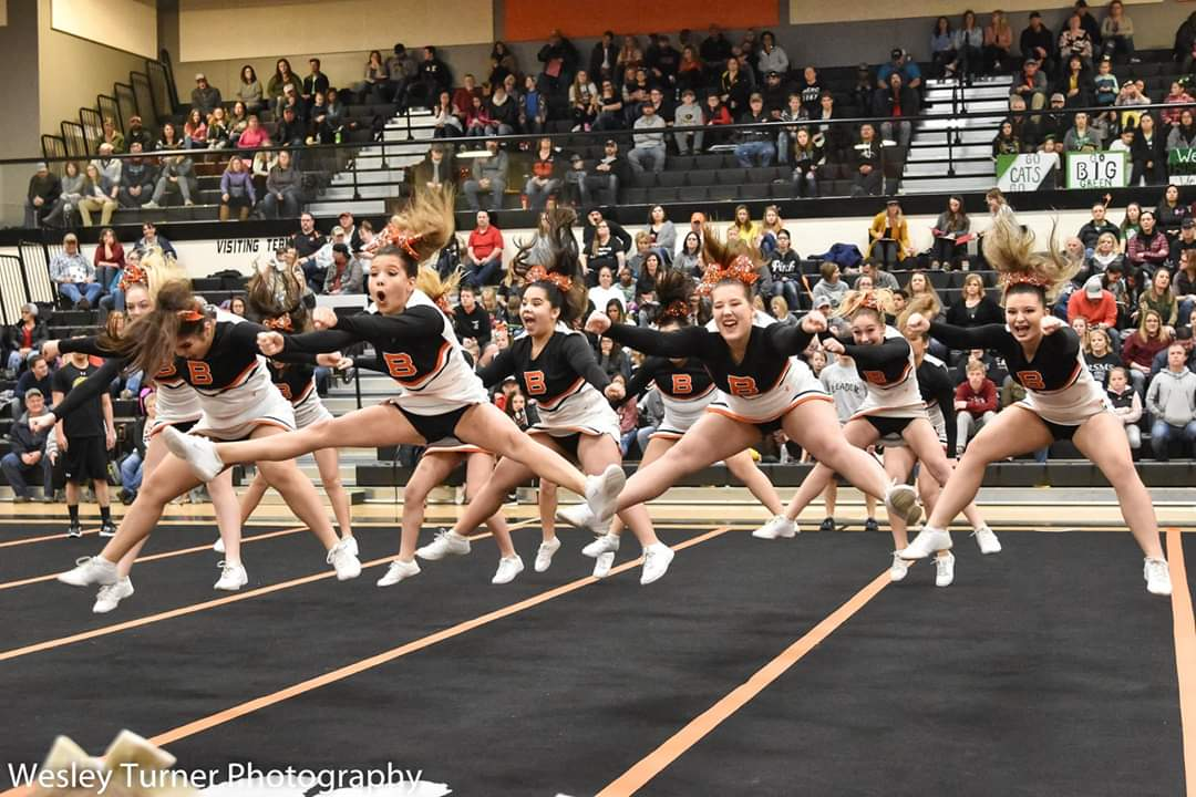 Our BHS Cheerleaders during their jump sequence at the competition in Jerome High School.