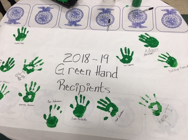 An creative depiction of the Green Hand Recipients with hand paintings and signatures.