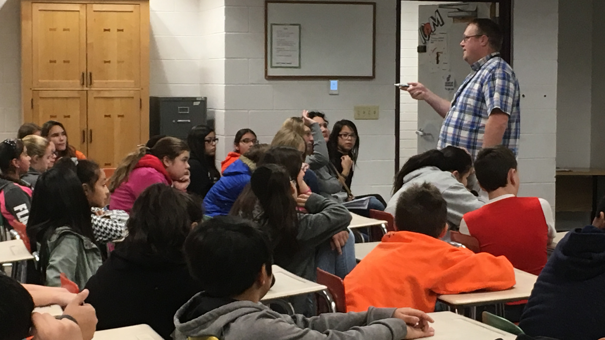 BMS Students listen to Cody as he instructs them on the dangers of vaping.