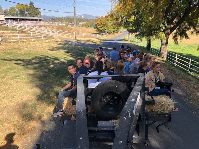 Buhl FFA students participated in AG Days at the University of Idaho. They are showcased here riding a trailer to destination.