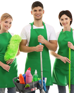 Service team with cleaning equipment on