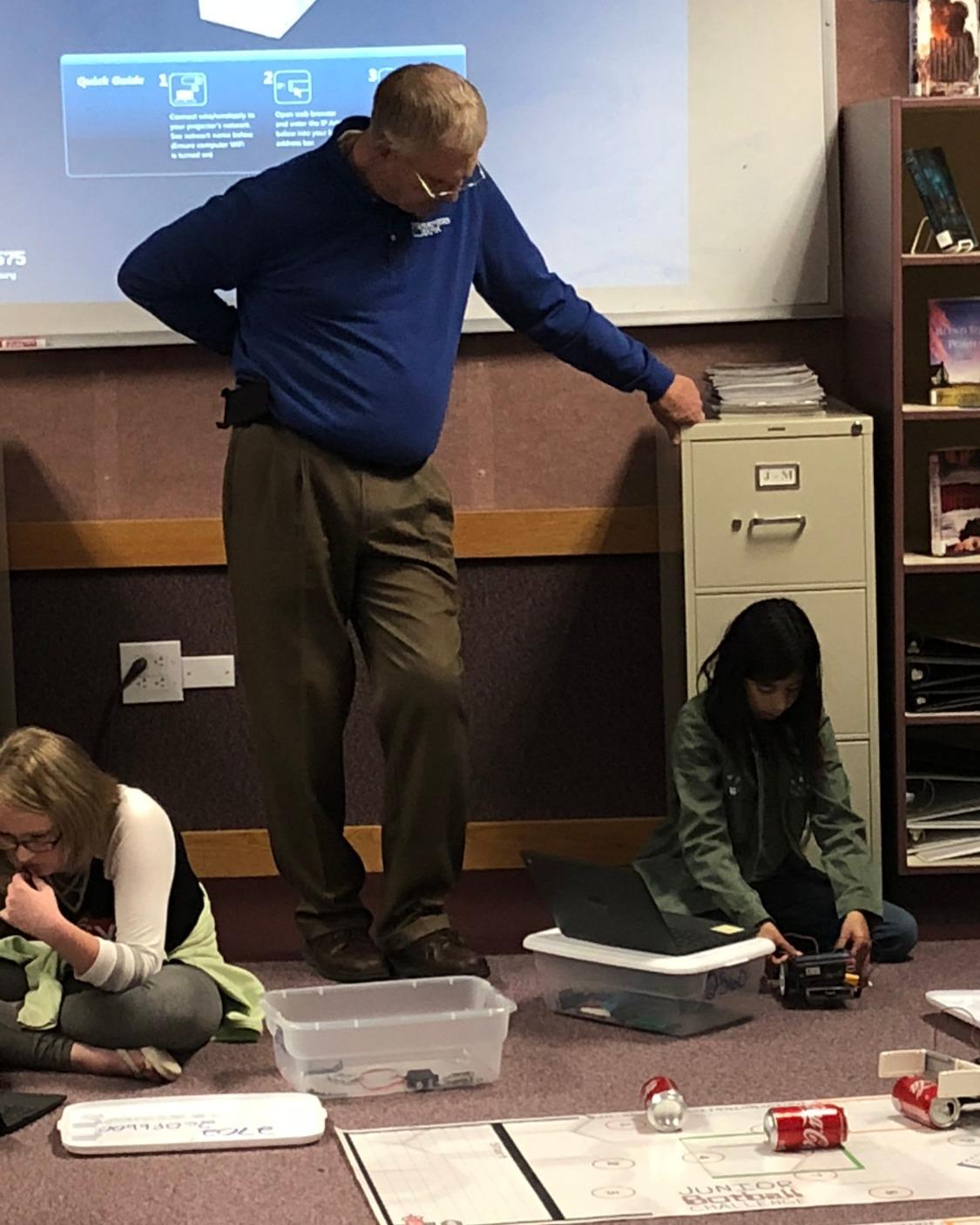 School Board Members get an inside scoop on the 6th Grade Robotics Class.