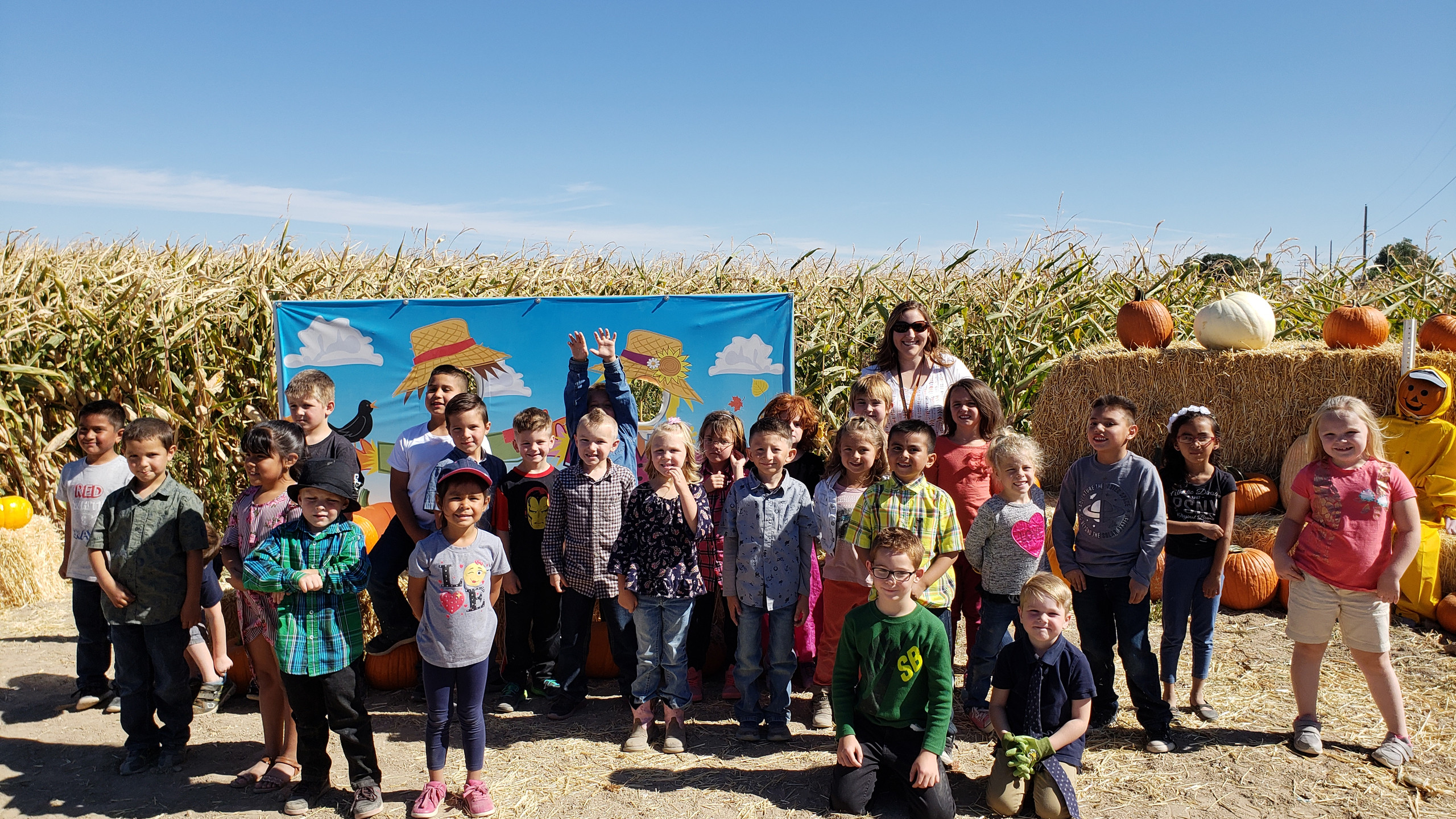 PES Students smile for the camera on their visit to the Buhl Pumpkin Patch.