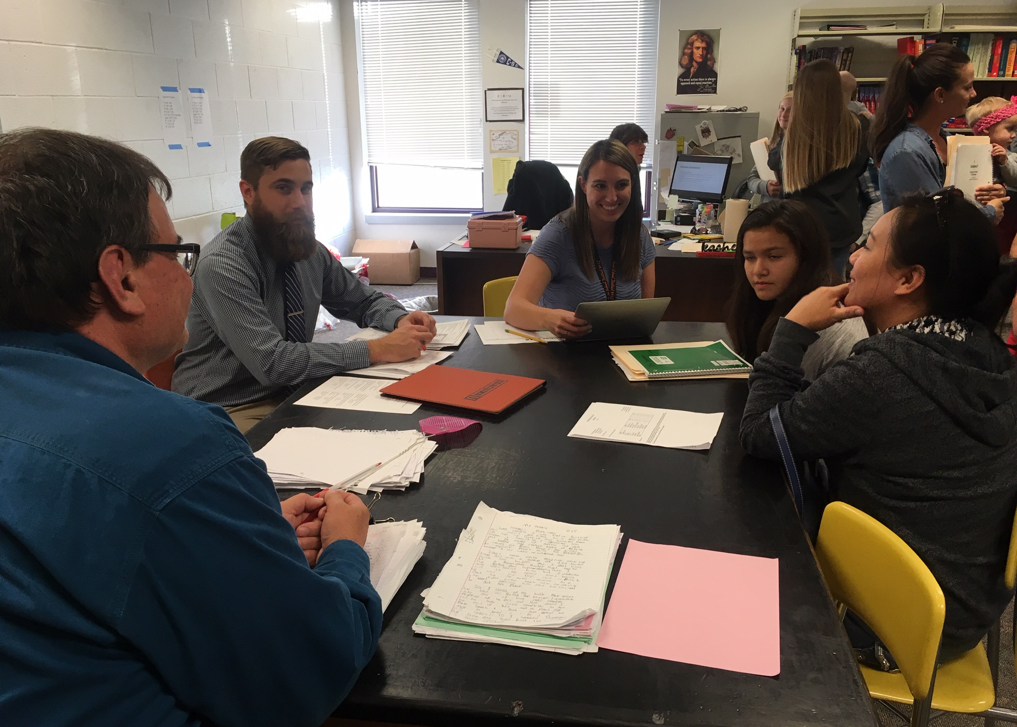 Parents and students sit down with the school teachers for Parent Teacher Conferences.