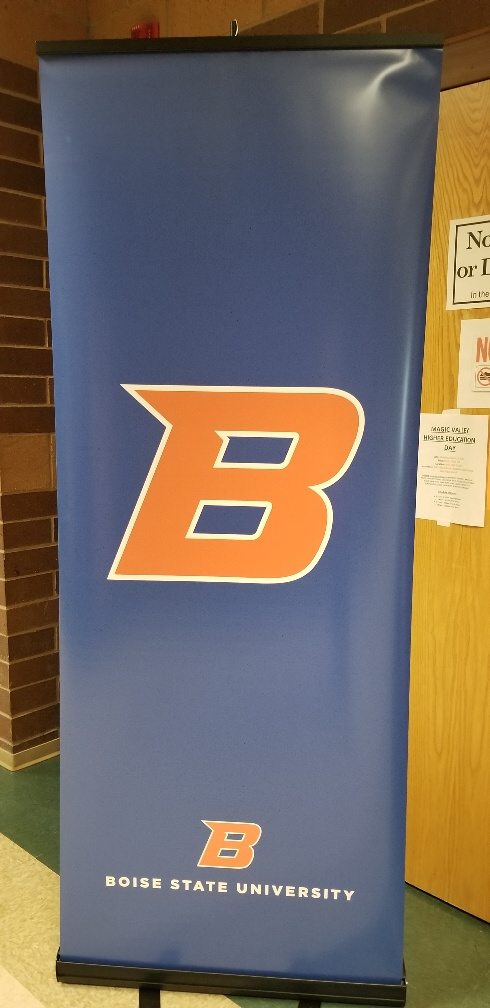 Learning about Idaho colleges at the Higher Education Day in Buhl High School.