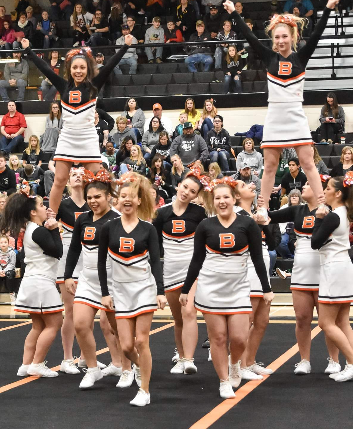 BHS Cheerleaders during their stunt sequence.