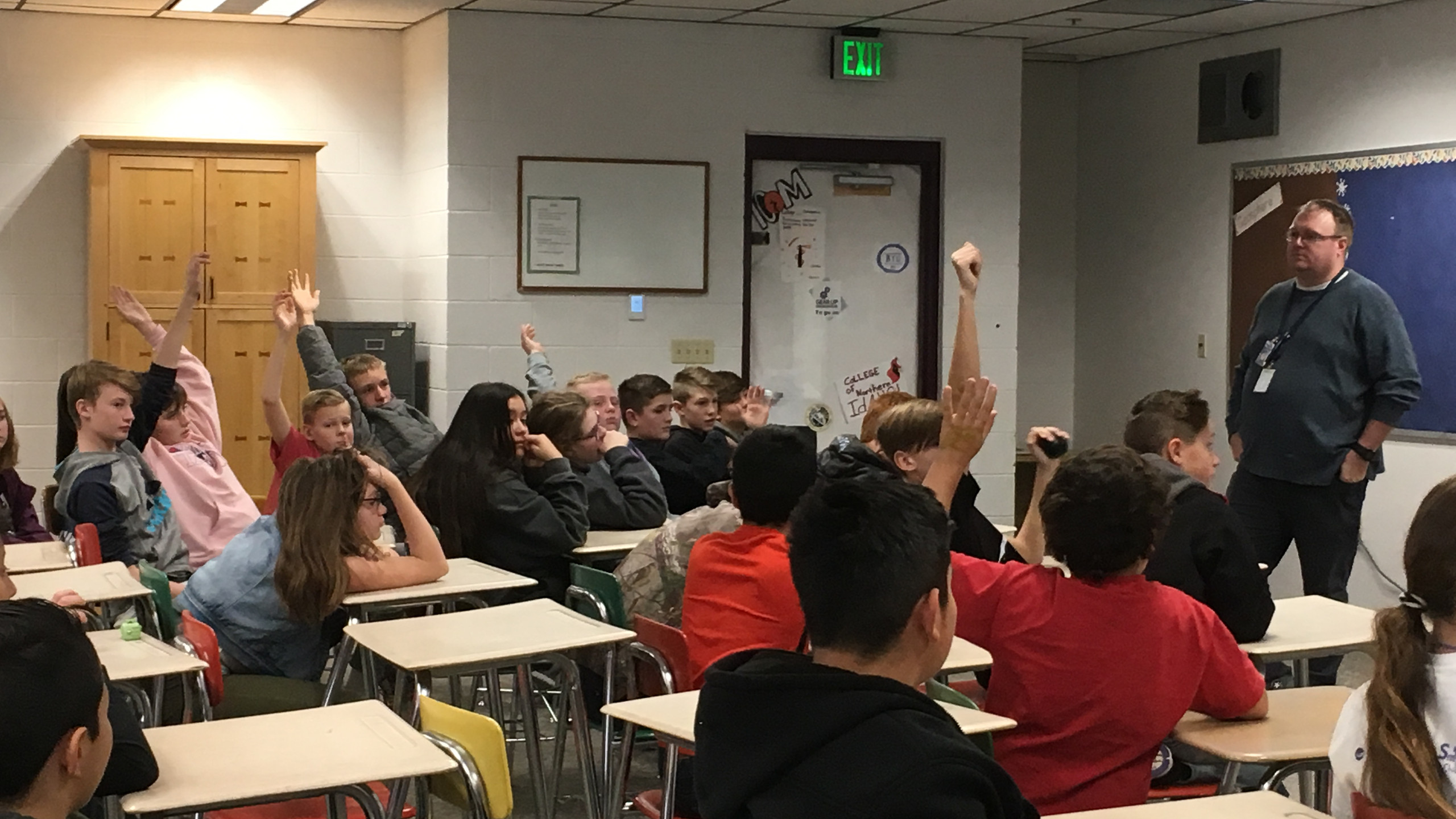 The students interact with Cody as they learn about the dangers of vaping.
