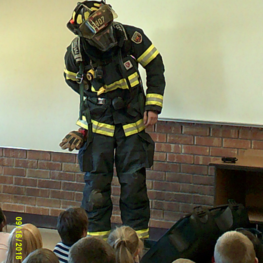 Getting into the firefighter gear.