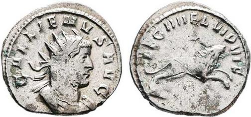 Gallienus (253–268). Antoninian 260/261, Münzstätte Mediolanum. Brustbild mit Strahlenkrone nach rechts, Umschrift: GALLIENUS AVG Rs.: Löwe mit Umschrift:  LEG X GEM VI P VI F