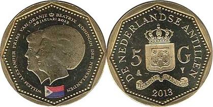 5 Gulden 2013, Abdankung von Königin Beatrix, Nickel mit Bronze galvanisiert,  11,00 g, Ø 26,00 mm, Münzstätte Koninklijke Nederlandse Munt in Utrecht.