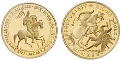 Britische Goldmedaille 1966 auf den 900. Jahrestag der Schlacht  von Hastings und der Thronbesteigung von Wilhelm I. Der reitende König wird in der Umschrift als König von England und Herzog der Normandie bezeichnet. Unten stehen die Jahreszahlen MLXVI (1066) und MCMLXVI (1966). Auf der Rückseite wird König Harold von einem Reiter niedergestochen. Die lateinische Umschrift aus dem Teppich von Bayeux HIC HAROLD REX INTERFECTUS EST lautet übersetzt: Hier wird König Harald getötet.