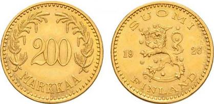 200 Markkaa 1926, Kursmünze, Gold 900er, 8,421 g, Ø 22,5 mm