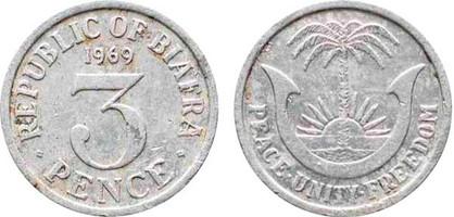 3 Pence 1969, Kursmünze, Aluminium, 0,8 g, Ø 18,5mm