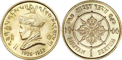 1 Sertum 1966, 40. Jahrestag der Thronbesteigung von  Jigme Wangchuck (1926–1966), Gold 916,7/1000, 7,98 g,  Ø 22,05 mm, Auflage nicht bekannt