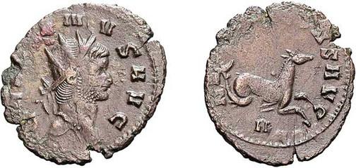 Gallienus (253–268). Antoninian 267/268, Münzstätte Rom. Brustbild mit Strahlenkrone nach rechts, Umschrift: GALLIENUS AVG Rs.: Seepferdchen mit Umschrift:  NEPTUNO CONS AVG, unten N  (= Kennzeichen der Offizin)