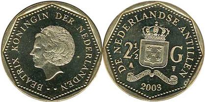2½ Gulden 2003, Kursmünze,  Nickel mit Bronze galvanisiert, 9,00 g,  Ø 28,00 mm, Münzstätte Koninklijke Nederlandse Munt in Utrecht.