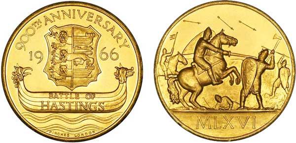 Britische Goldmedaille 1966 von Pinches, London,  auf den 900. Jahrestag der Schlacht von Hastings