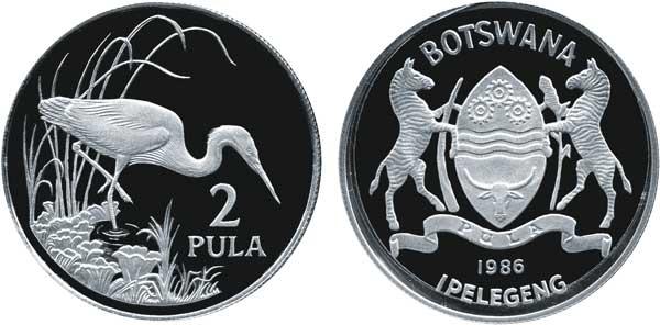 2 Pula 1986, 25 Jahre World Wildlife Fund, Silber 925/1000,  28,28 g, Ø 38,61 mm, Auflage: 25 000 in PP