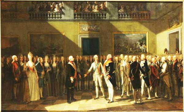 Das Pillnitzer Fürstentreffen 1791. Ölgemälde von J. H. Schmidt. Kaiser Leopold II., Kurfürst Friedrich August III. von Sachsen und König Friedrich Wilhelm II. von Preußen (von links).