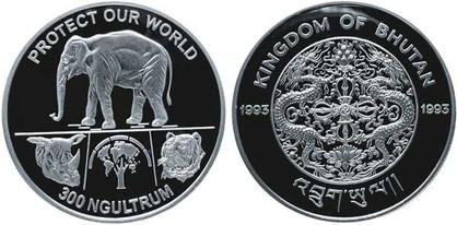 300 Ngultrum 1993, Schützt unsere Welt, Silber 925/1000, 31,47 g, Ø 38,61 mm, 10 000 Exemplare