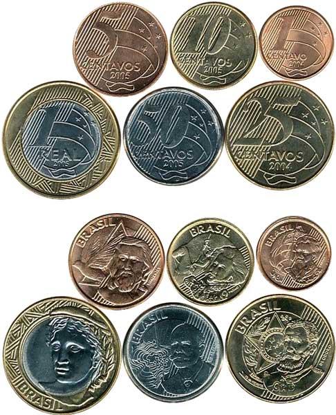 Kursmünzen von 1 Centavo bis 1 Real – sechs Münzen (2004–2005), diverse unedle Metall-Legierungen