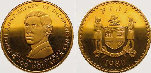 Abb. 2: 200 Dollars 1980, 10 Jahre staatliche Unabhängigkeit,  916,67er Gold, 15,98 g, Ø 28,4 mm, Münzstätte [British] Royal Mint