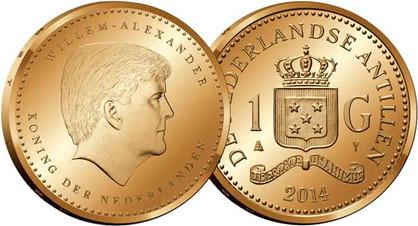 1 Gulden 2014, Kursmünze, Nickel mit Bronze galvanisiert, 6,00 g, Ø 24,00 mm, Münzstätte Koninklijke Nederlandse Munt in Utrecht.