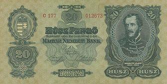 20 Pengö vom 2.1.1930, Vorderseite
