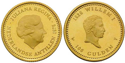 100 Gulden 1978, 150 Jahre Verfassung des Königreichs der Niederlande, Gold 900er, 6,72 g, Ø 22,50 mm, Münzstätte Koninklijke Nederlandse Munt in Utrecht.