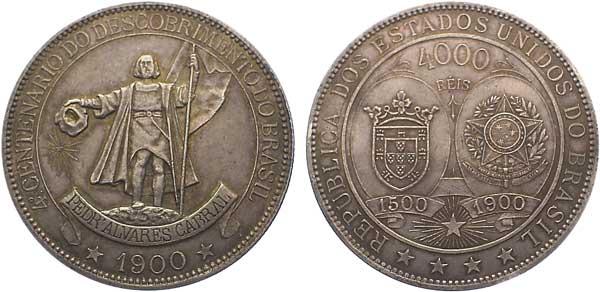 4000 Reis 1900, 400. Jahrestag der Entdeckung Brasiliens,  Silber 916,67/1000, 51,00 g, Ø ca. 48 mm, 6850 Exemplare